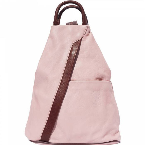 'Vanna' Contrast Colour Italian Leather Backpack Backpack Made in Tuscany Pink/Brown