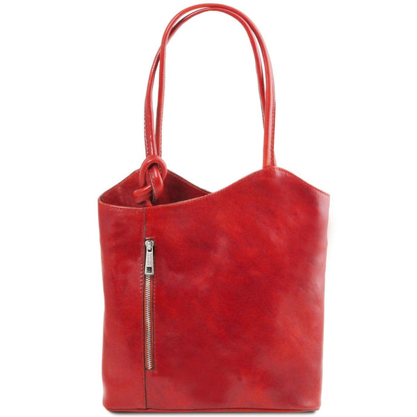 Tuscany Leather Patty Leather Convertible Bag/Backpack Ladies Shoulder Bag Tuscany Leather Red