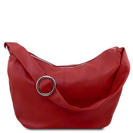Tuscany Leather 'Yvette' Soft Leather Hobo Bag (TL140900) Ladies Shoulder Bag Tuscany Leather Red