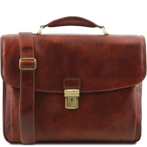 Tuscany Leather 1st Class 'Alessandria' Leather Multi-Compartment TL Smart Laptop Briefcase Laptop Briefcase Tuscany Leather Brown