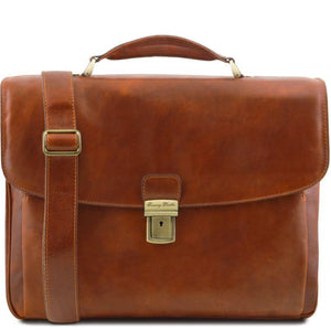 Tuscany Leather 1st Class 'Alessandria' Leather Multi-Compartment TL Smart Laptop Briefcase Laptop Briefcase Tuscany Leather Honey