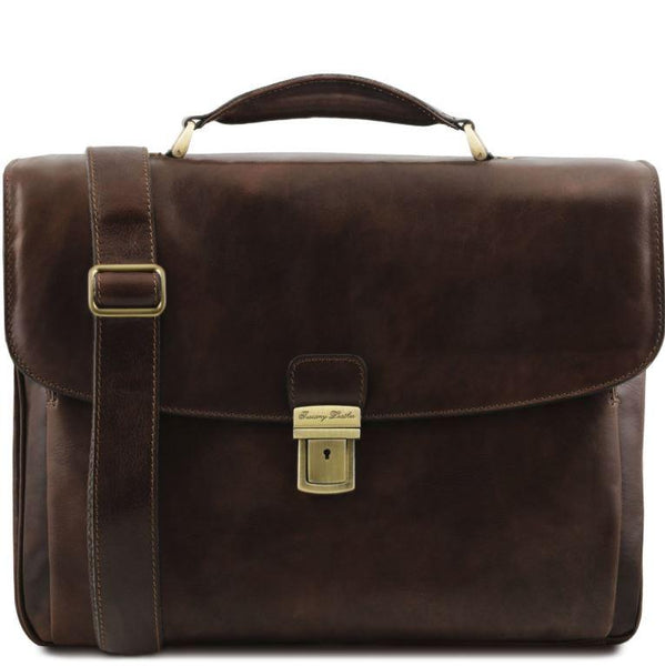 Tuscany Leather 1st Class 'Alessandria' Leather Multi-Compartment TL Smart Laptop Briefcase Laptop Briefcase Tuscany Leather Dark Brown