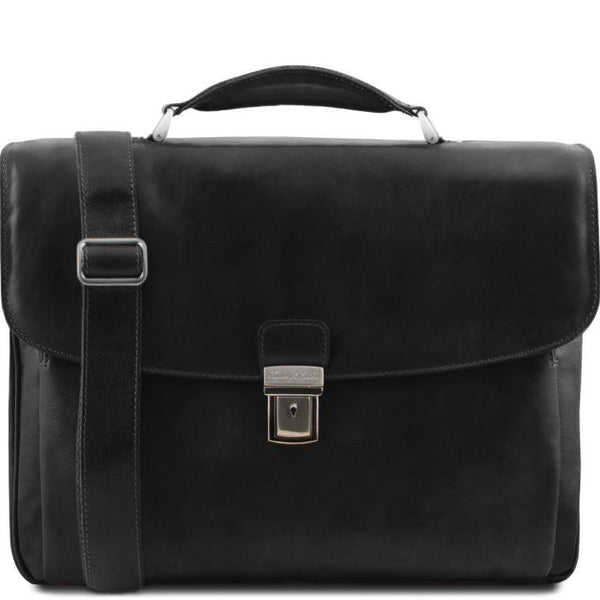 Tuscany Leather 1st Class 'Alessandria' Leather Multi-Compartment TL Smart Laptop Briefcase Laptop Briefcase Tuscany Leather Black