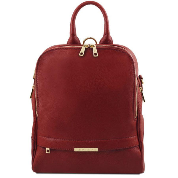 Tuscany Leather 'TL Bag' Soft Leather Backpack For Women (TL141376) Backpack Tuscany Leather Red