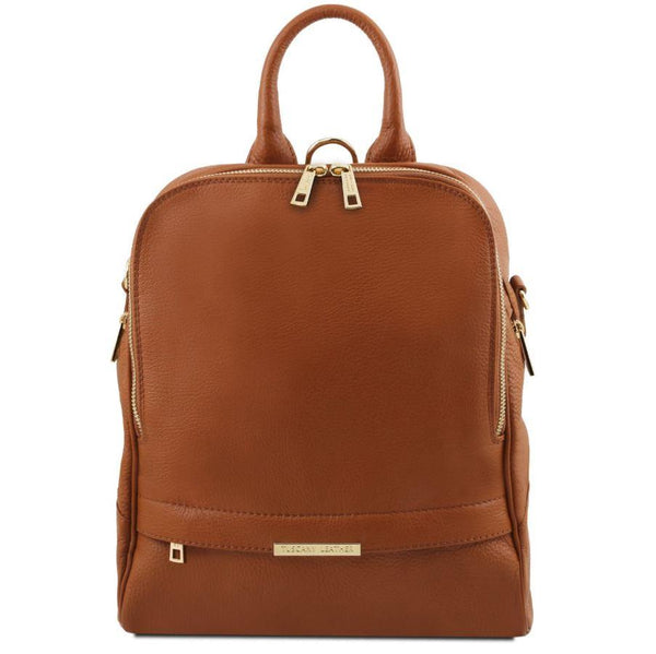 Tuscany Leather 'TL Bag' Soft Leather Backpack For Women (TL141376) Backpack Tuscany Leather Cognac
