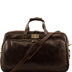 Tuscany Leather Traveller 'Bora Bora ' Leather Trolley Cabin Duffle Bag (50Cm) Leather Trolley Bag Tuscany Leather Dark Brown