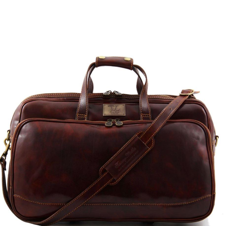 Tuscany Leather Traveller 'Bora Bora ' Leather Trolley Cabin Duffle Bag (50Cm) Leather Trolley Bag Tuscany Leather Brown