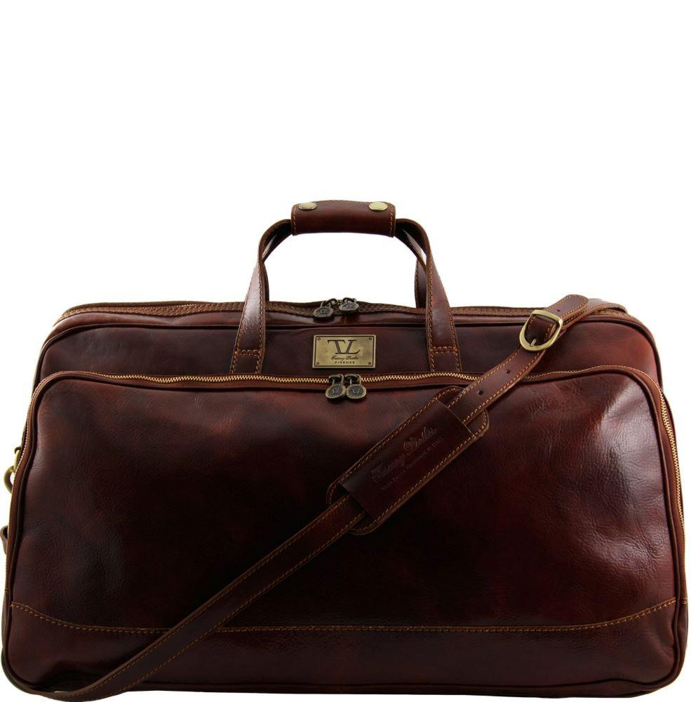 Tuscany Leather Traveller 'Bora Bora ' Leather Trolley Large Duffle Bag (60Cm) Leather Trolley Bag Tuscany Leather Brown