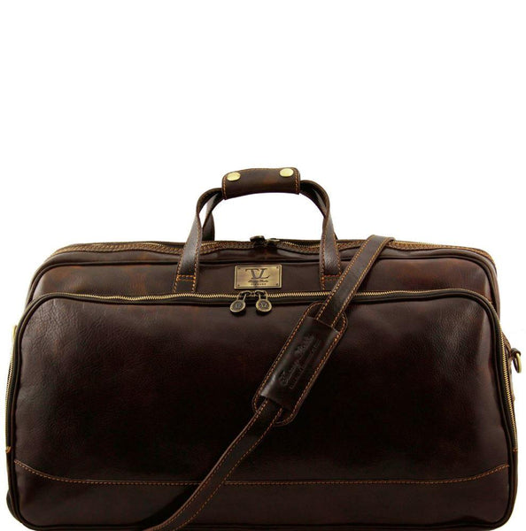 Tuscany Leather Traveller 'Bora Bora ' Leather Trolley Large Duffle Bag (60Cm) Leather Trolley Bag Tuscany Leather Dark Brown
