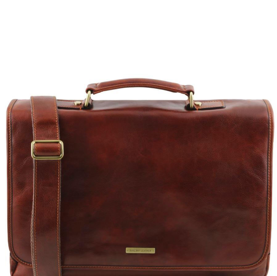 Tuscany Leather 1st Class 'Mantova' Leather Multi Compartment Briefcase Laptop Briefcase Tuscany Leather Brown