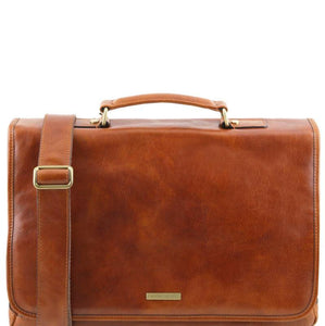 Tuscany Leather 1st Class 'Mantova' Leather Multi Compartment Briefcase Laptop Briefcase Tuscany Leather Honey