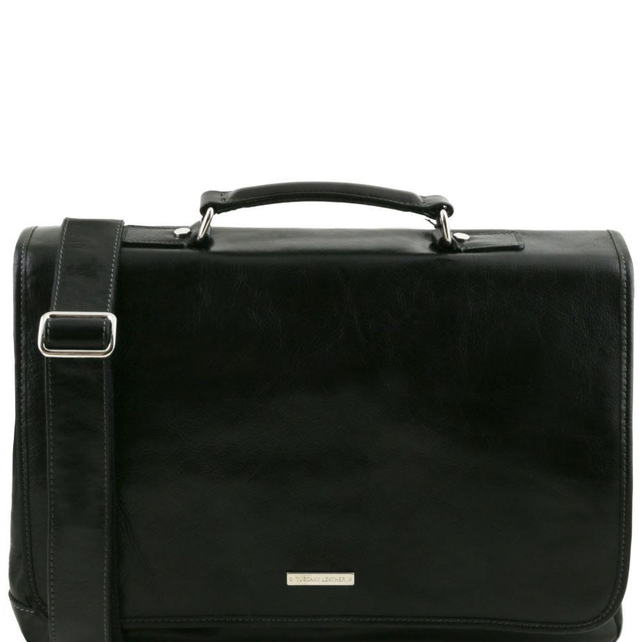 Tuscany Leather 1st Class 'Mantova' Leather Multi Compartment Briefcase Laptop Briefcase Tuscany Leather Black