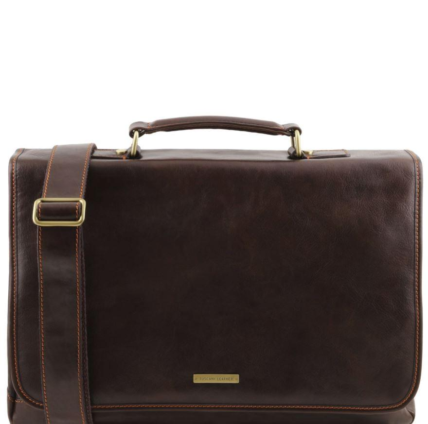 Tuscany Leather 1st Class 'Mantova' Leather Multi Compartment Briefcase Laptop Briefcase Tuscany Leather Dark Brown