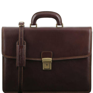 Tuscany Leather 1st Class 'Amalfi' Leather 1 Compartment Briefcase Laptop Briefcase Tuscany Leather Dark Brown