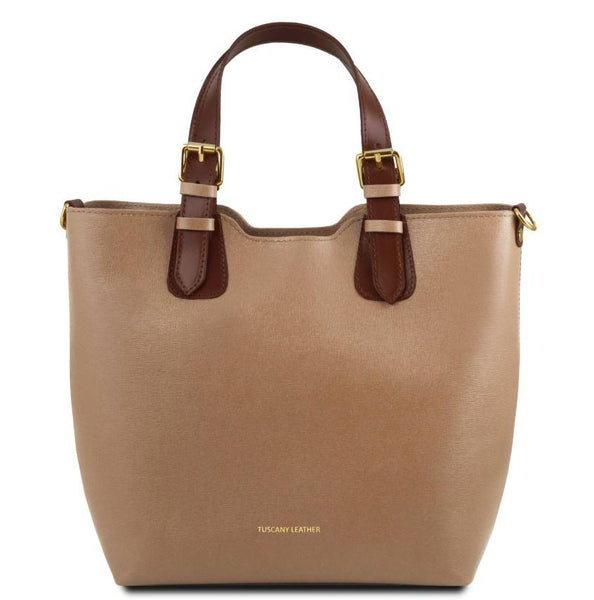 Tuscany Leather TL Bag Saffiano Leather Handbag Bag (TL141696) Handbag Tuscany Leather Caramel