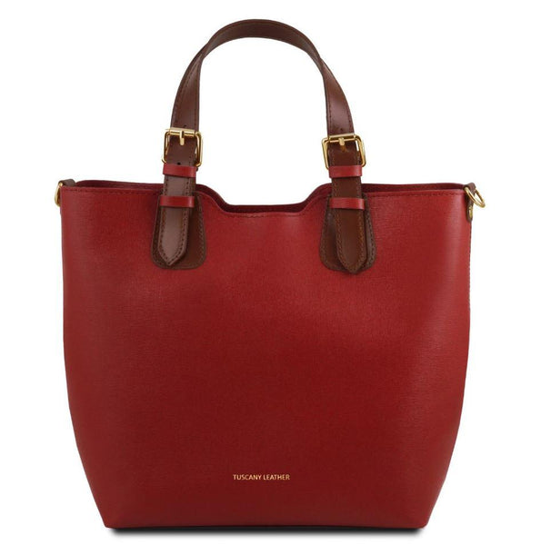 Tuscany Leather TL Bag Saffiano Leather Handbag Bag (TL141696) Handbag Tuscany Leather Red