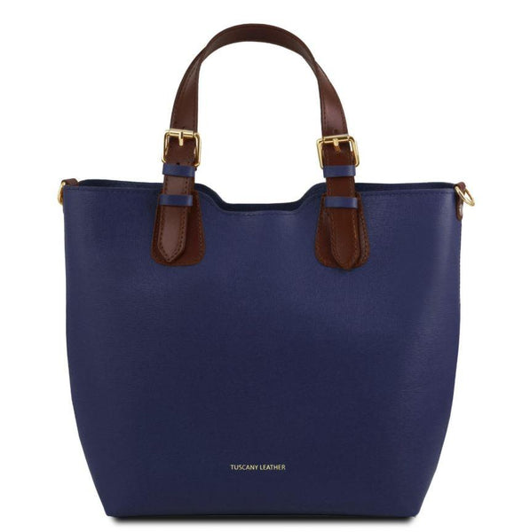 Tuscany Leather TL Bag Saffiano Leather Handbag Bag (TL141696) Handbag Tuscany Leather Dark Blue