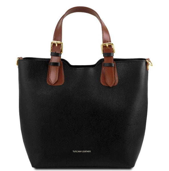 Tuscany Leather TL Bag Saffiano Leather Handbag Bag (TL141696) Handbag Tuscany Leather Black