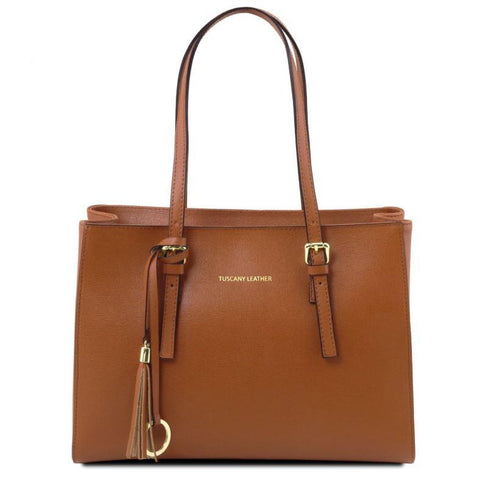 Tuscany Leather TL Bag Saffiano Leather Handbag Bag (TL141518) Handbag Tuscany Leather Cognac