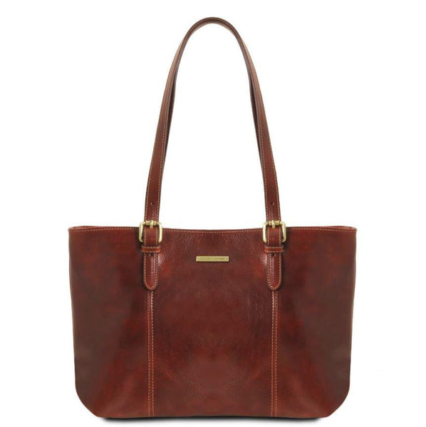 Tuscany Leather Classic Annalisa Leather Shopping Bag Ladies Shoulder Bag Tuscany Leather Brown