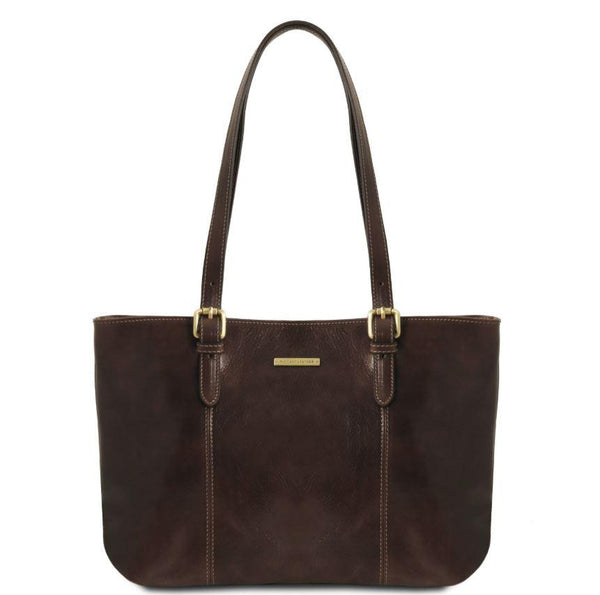Tuscany Leather Classic Annalisa Leather Shopping Bag Ladies Shoulder Bag Tuscany Leather Dark Brown
