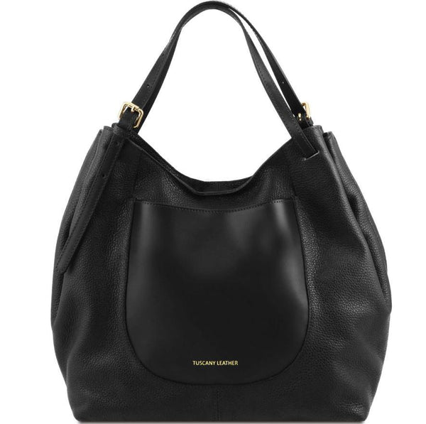 Tuscany Leather 'Cinzia' Soft Leather Shopping Hobo Bag (TL141515) Ladies Shoulder Bag Tuscany Leather Black