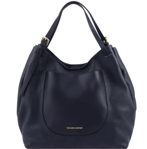 Tuscany Leather 'Cinzia' Soft Leather Shopping Hobo Bag (TL141515) Ladies Shoulder Bag Tuscany Leather Dark Blue
