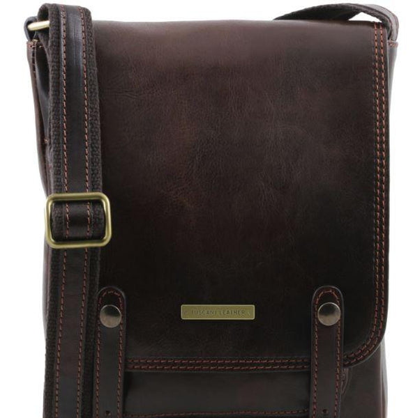 Tuscany Leather 1st Class 'Roby' Men's Crossbody Messenger Bag Messenger Bag Tuscany Leather Dark Brown