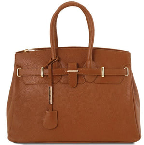 Tuscany Leather 'TL Bag' Leather Handbag With Golden Hardware (TL141529) Ladies Shoulder Bag Tuscany Leather Cognac