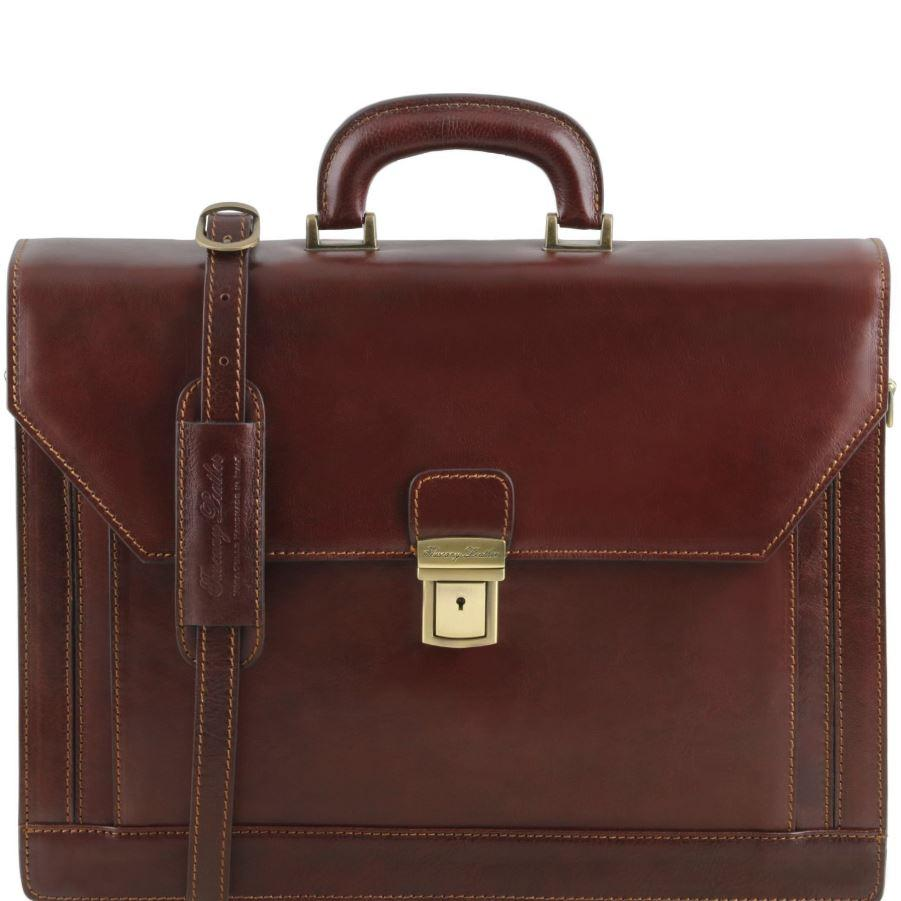 Tuscany Leather 1st Class 'Roma' 3 Compartment Leather Laptop Briefcase Laptop Briefcase Tuscany Leather Brown