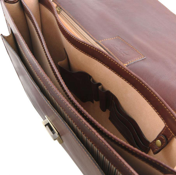 Tuscany Leather 1st Class 'Roma' 3 Compartment Leather Laptop Briefcase Laptop Briefcase Tuscany Leather