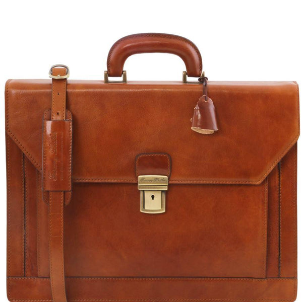 Tuscany Leather 1st Class 'Roma' 3 Compartment Leather Laptop Briefcase Laptop Briefcase Tuscany Leather Honey