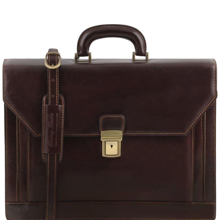 Tuscany Leather 1st Class 'Roma' 3 Compartment Leather Laptop Briefcase Laptop Briefcase Tuscany Leather Dark Brown