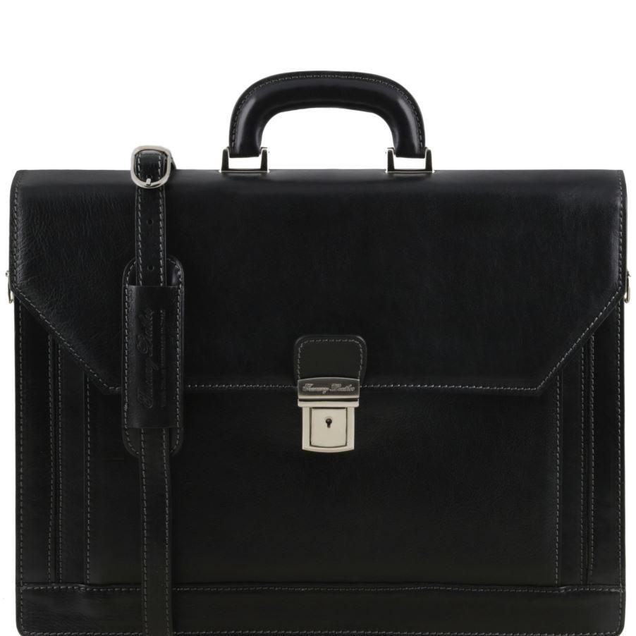 Tuscany Leather 1st Class 'Roma' 3 Compartment Leather Laptop Briefcase Laptop Briefcase Tuscany Leather Black