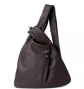 Bruno Rossi 'Millemodi' Multifunctional Women's Leather Backpack Backpack Bruno Rossi Moka/Black