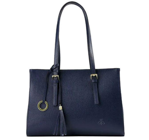Honey Bag 'Nella' Saffiano Women's Leather Shoulder Bag Handbag Honey Bag Florence Blue