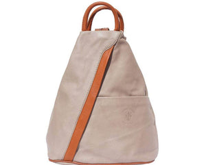 'Vanna' Contrast Colour Italian Leather Backpack - Special Offer Backpack Made in Tuscany Light Taupe/Tan