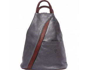 'Vanna' Contrast Colour Italian Leather Backpack - Special Offer Backpack Made in Tuscany Grey/Brown
