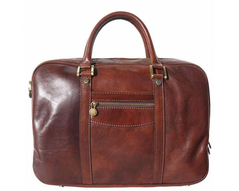 'Gianpaolo' Italian Leather Laptop Carry Briefcase Briefcase Made in Tuscany Dark Brown
