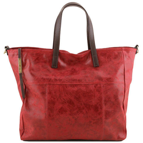 Tuscany Leather 'TL Bag' Annie Aged Effect Leather Shopping Tote Bag (TL141552) Ladies Shoulder Bag Tuscany Leather Red
