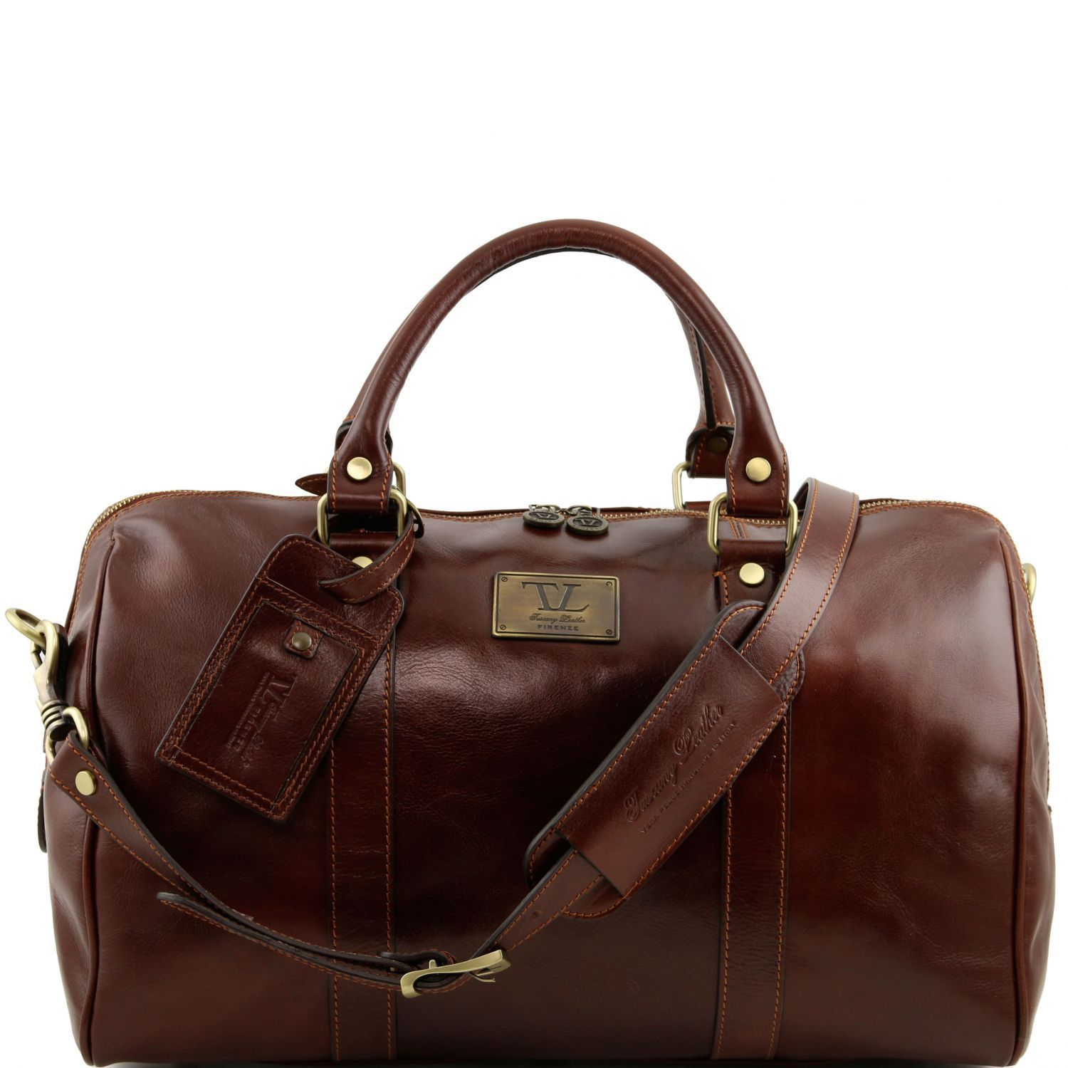 Tuscany Leather Small 'TL Voyager' Travel Leather Duffle Bag - Small Duffle Bag Tuscany Leather Brown