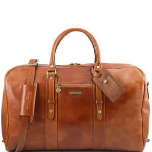 Tuscany Leather 'TL Voyager' Travel Leather Duffle Bag With Front Pocket (TL141401) Duffle Bag Tuscany Leather Honey