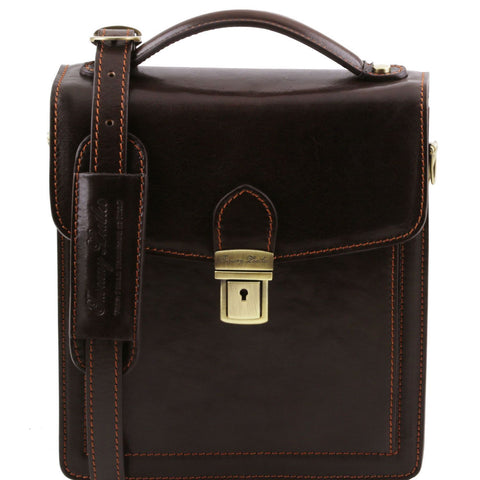 Tuscany Leather 1st Class 'David' Men's Leather Crossbody Bag - Small Messenger Bag Tuscany Leather Dark Brown