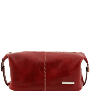 Tuscany Leather 'Roxy' Leather Toiletry Bag Toiletry Bag Tuscany Leather Red