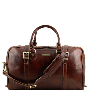 Tuscany Leather Berlin Travel Leather Duffle Bag-Small - Made in Tuscany