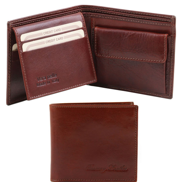 Tuscany Leather Exclusive Classic 3 Fold Leather Wallet For Men (TL140763) - Made in Tuscany