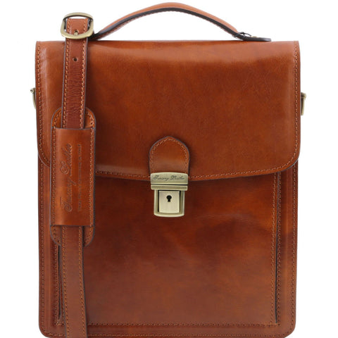 Tuscany Leather 1st Class David Men's Leather Crossbody Bag - Large - Made in Tuscany