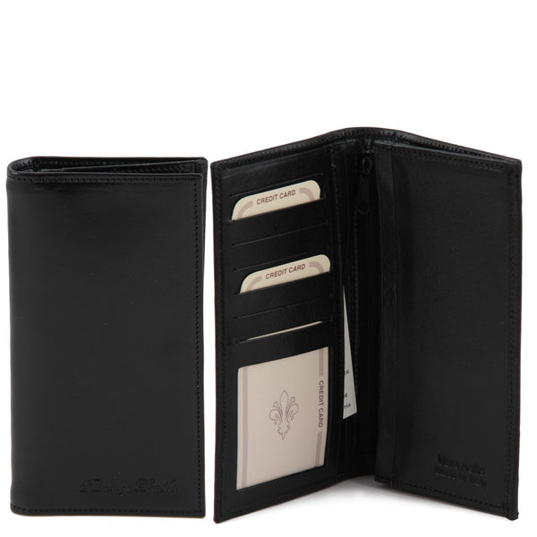 Tuscany Leather Exclusive Classic 2 Fold Leather Vertical Men's Wallet (TL140777) Wallets Tuscany Leather Black