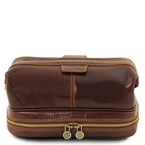 Tuscany Leather 'Patrick' Leather Men's Toiletry Bag Toiletry Bag Tuscany Leather Brown