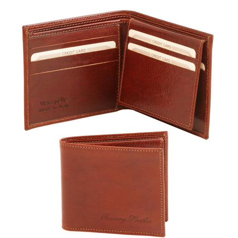 Tuscany Leather Exclusive Classic 3 Fold Leather Card Holder Wallet For Men (TL141353) Wallets Tuscany Leather Brown